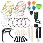 SUNYIN Guitar Strings Replace Tool Kit,3 sets of Acoustic Guitar Strings,Guitar Capo,String Winder,Bridge Pins,Pin Puller,Guitar Bones,Guitar Picks & Holder For Beginner