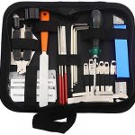 25Pcs Guitar Repairing Maintenance Tool Kit with String Organizer String Action Ruler Gauge Measuring Tool Hex Wrench Set Files Fingerboard for Music or String Instrument Enthusiast