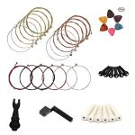 MUKEZON 3 Sets of 6 Acoustic Guitar Strings Winder, Pin Puller, Plastic Bridge Pins and Guitar Picks (3 sets of strings)