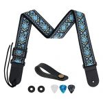 Guitar Strap, Tifanso Jacquard Weave Guitar Strap with Genuine Leather Ends - Soft Adjustable Acoustic Guitar Strap for Electric Bass, Come With Strap Button, 1 Pair Strap Locks and 3 Guitar Picks