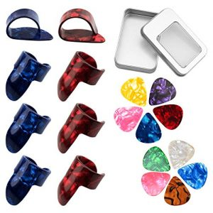 URlighting 8 Pcs Guitar Finger Picks Thumb Picks, 10 Pcs 2 Size Guitar Picks with Storage Box, Guitar Fingertip Protector Starter Set for Fingerstyle Acoustic & Electronic Guitar Bass Ukelele Banjo