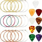 3 Sets Acoustic Guitar Strings Replacement Steel Guitar Strings (Gold, Brass, Multicolor) with 9 Pieces Celluloid Guitar Picks 3 Sizes for Electric Acoustic Guitar Beginners Performers