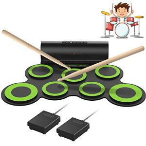 ORASANT Electronic Drum Set, Roll-able Electric Drum Set, Drum Practice Pad with Foot Pedals Drum Sticks Headphone Jack Built-in Speaker 10Hour Playtime Rechargeable Battery