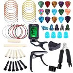 Bosunny 60 PCS Guitar Accessories Kit Including Guitar Picks,Capo,Tuner,Acoustic Guitar Strings,3 in 1String Winder,Bridge Pins,6 String Bone Bridge Saddle and Nut,Finger Picks for Beginner