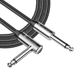 "Syncwire Professional Guitar Lead 6M/19.68ft, 6.35mm 1/4"" Right Angled Jack Nylon Braided Guitar Instrument Cable for Electric Guitar, Bass, Amp, Keyboard, Mandolin, Mixing Desks - STR/ANG - Black"