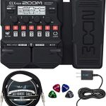 Zoom G1X FOUR Multi-Effects Processor with Expression Pedal Bundle with Guitar Lab Software, Blucoil 9V AC Adapter, 10-FT Straight Instrument Cable (1/4in), and 4-Pack of Celluloid Guitar Picks