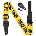 """Rinastore Guitar Strap Yellow""""POLICE LINE"""" Includes Strap Button & 2 Strap Locks For Bass, Electric & Acoustic Guitars (Yellow)"""