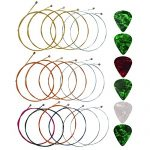 Yookat Acoustic Guitar Strings with 6 Picks, 3 Sets of 6 Acoustic Guitar Kit Guitar Strings Replacement Steel String For Beginners Performers