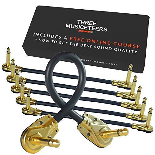 Guitar Patch Cables 6 Inch - Pedal Cable Kit 6 Pack - Best for Instrument Effects and Pedal Boards - Gold Plated Pedal Patch Cable Set - by The Three Musiceteers