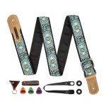 M33 Guitar Strap Vintage Woven Collection Strap Set For Acoustic, Bass and Electric Guitars Includes Strap Button + Locks +Picks
