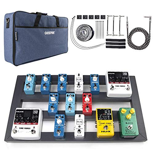 """Guitar Pedal Board Large, 22.2"""" x 12.78"""" x 2.75"""", Pedalboard for Guitar, Aluminum Alloy Effects Pedal Board with Bag"""