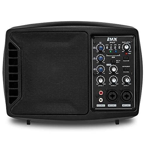 LyxPro SPA-5.5 Small PA Speaker Monitor Class-D Amplifier 3 Channel Mixer 3 Band EQ, Powerful Compact Active Speaker System amp with mixer 48V Phantom Power