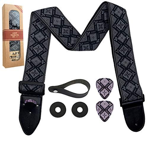 Guitar Strap Regal Black Vintage Woven W/FREE BONUS- 2 Picks + Strap Locks + Strap Button. For Bass, Electric & Acoustic Guitars. an Awesome Gift for Men & Women Guitarists