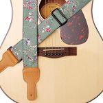 "MUSIC FIRST Original Design, 2 inch width (5cm), Vintage Style ""Plum Flowers"" Soft Cotton & Genuine Leather Guitar Strap, Ukulele Strap, Mandolin Strap"