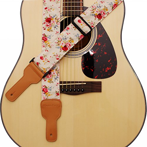 "MUSIC FIRST Original Design, 2 inch width (5cm), ""Rosa Multiflora in Cream"" Padded Soft Cotton & Genuine Leather Guitar Strap, Ukulele Strap, Mandolin Strap"