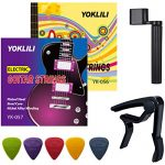 Electric Guitar Strings, Yoklili 2 Sets of Nickel Plated Steel Strings with 5 Nylon Guitar Picks, Guitar Capo and String Winder for Electric Guitar (Super Light+Light)