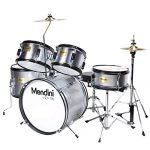 Mendini by Cecilio 16 inch 5-Piece Complete Kids/Junior Drum Set with Adjustable Throne, Cymbal, Pedal & Drumsticks, Metallic Silver, MJDS-5-SR