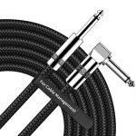 Guitar Cable 10FT Right Angle 1/4 Inch TS to Straight 1/4 Inch TS Electric Guitar and Bass Audio Cord Professional Instrument Cable for Electric Guitar, Bass, Keyboard, Amplifier, Pro Audio