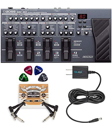 BOSS ME-80 Multi-Effects Pedal for Acoustic and Electric Guitars Bundle with Blucoil Slim 9V Power Supply AC Adapter, 2-Pack of Pedal Patch Cables, and 4-Pack of Celluloid Guitar Picks