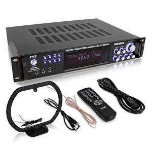 4-Channel Home Audio Power Amplifier - w/ 70V Output - 1000 Watt Rack Mount Stereo Receiver w/ AM FM Tuner, Headphone, Microphone Input for Karaoke, Great for Commercial Entertainment Use - Pyle PT720A