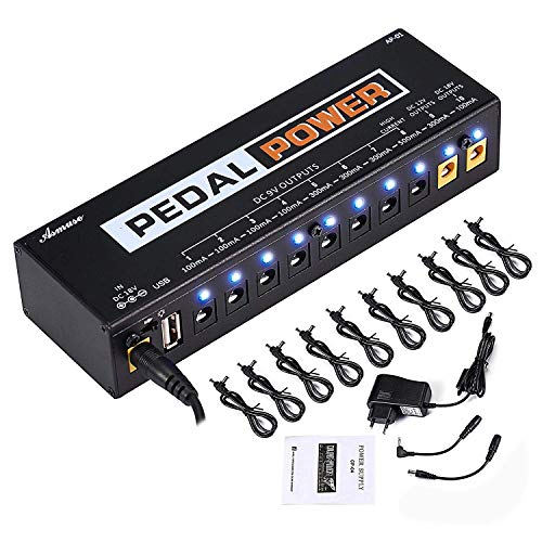 Guitar Pedal Power Supply 10 Isolated DC Output for 9V/12V/18V Guitar Bass Effects Pedals with Built-in USB Charging Port for Phone iPhone Pad iPad