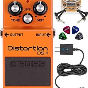BOSS DS-1 Distortion Pedal Bundle with Blucoil Slim 9V 670mA Power Supply AC Adapter, 2-Pack of Pedal Patch Cables, and 4-Pack of Celluloid Guitar Picks