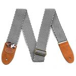 Guitar Strap Vintage Tweed 100% Cotton & Genuine Leather Ends Strap with Pick Pocket For Bass, Electric & Acoustic Guitars (Black/Gray)
