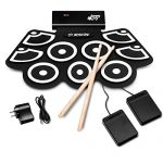 BABY JOY Electronic Roll Up Drum Kit w/ 9 Electric Drum Pads, 3.7V Lithium Battery, Bluetooth, Record, Play, Volume & Rate Control, MP3 Headphone Input, Foot Pedal, Drumsticks, 20 Hours Duration
