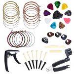 Benvo Guitar Accessories Kit 49 Pieces Guitar Tool Changing Kit Including Guitar Picks, Capo, Acoustic Guitar Strings, String Winder, Bridge Pins, Pin Puller, Guitar Bones & Pick Holder, Finger Picks