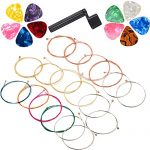 COCODE 3 Sets of 6 Guitar Strings Replacement Steel String with a Guitar Peg Puller Bridge Pin Remover and 10 Pieces Guitar Picks for Acoustic Guitar (1 Brass Set,1 Red Copper Set,1 Multicolor Set)