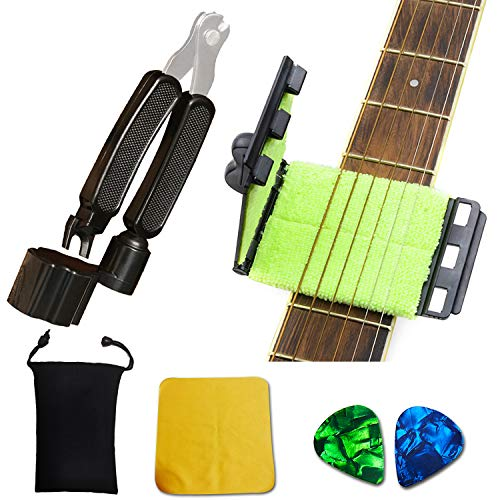 SPROUTER Guitar Fretboard Cleaner Guitar String Scrubber, 3 in 1 Guitar Repair Tools with Peg winder, Bridge Pin Puller, String Clipper Maintenance Care Kit for Guitar Bass Mandolin Ukulele in a bag