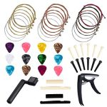 Anvin 48 Pcs Guitar Accessory Kit Acoustic Guitar Changing Tool Includes Guitar Acoustic Strings, Guitar Picks, Capo, String Winder, Bridge Pins, Picks for Guitar Players and Guitar Beginners