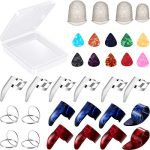 34 Pieces Guitar Accessory Kit Including 18 Pieces Finger Picks Thumb Picks, 12 Pieces Guitar Picks and 4 Pieces Guitar Finger Protectors with Clear Storage Box