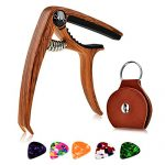 Guitar Capo for Acoustic and Classical Guitar 6/12 String, Ukulele Bass Mandolin Banjo with Picks and Picks Holder - Wood Grain