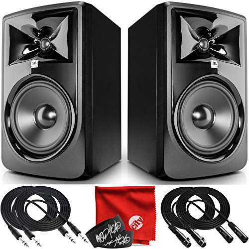 JBL Professional 308P MkII Next-Generation 8-Inch 2-Way Powered Studio Monitor Pair Bundle with 2x Mophead 10-Foot TRS Cable, 2x 10-Foot XLR Cable, 2x Cable Ties and Microfiber Cloth