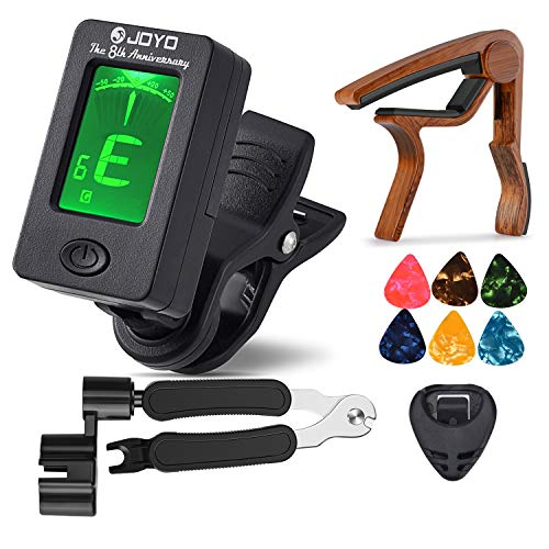 MOREYES Tuner Clip on Chromatic, Guitar, Bass, Violin, Ukulele Include Guitar Capo and Picks and Holder (01 Tuner and wood capo)