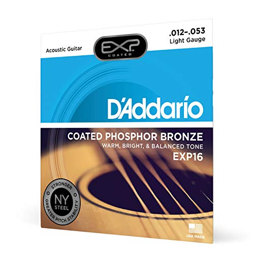 D'Addario EXP16 Coated Phosphor Bronze Acoustic Guitar Strings, Light, 12-53 – Offers a Warm, Bright and Well-Balanced Acoustic Tone and 4x Longer Life - With NY Steel for Strength and Pitch Stability