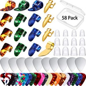 58 Piece Guitar Picks Thumb Finger Pick Metal Guitar Pick Fingertip Protectors Celluloid Stainless Steel Guitar Accessories Kit with Storage Box for Electric Acoustic Classic Guitar Bass Banjo Ukulele