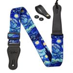 """Van Gogh """"Starry Night"""" Guitar Strap Includes Strap Button & 2 Strap Locks. Adjustable Guitar Shoulder Strap For Bass, Electric & Acoustic Guitar.Best Birthday Gift for Men Women Guitarist"""