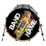 Custom Bass Drum Head DECAL - Many Sizes - Use our stock Designs, or Send us yours. Personalized Drum Set Sticker. Musicians Band (22)