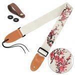 Guitar Strap Vintage Tweed 100% Cotton & Leather Ends Shoulder Strap For Bass, Electric & Acoustic Guitars (Plum Blossoms)