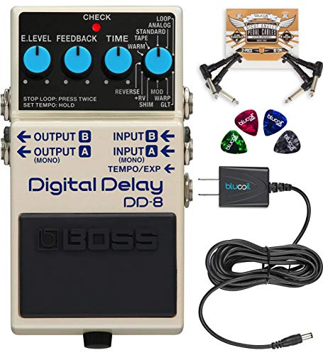 BOSS DD-8 Digital Delay Guitar Effects Pedal Bundle with Blucoil Slim 9V Power Supply AC Adapter, 2-Pack of Pedal Patch Cables, and 4-Pack of Celluloid Guitar Picks