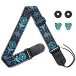 Eyeshot Guitar Strap Adjustable Soft Guitar Strap with Genuine Leather End, Acoustic Electric Bass Guitar Strap with Strap Locks & Strap Picks