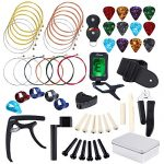 Auihiay 57 Pieces Guitar Strings Accessories Kit Including Acoustic Guitar Strings, Guitar Tuner, Capo, Picks, Guitar String Winder, Cutter, Bone Bridge, Guitar Basic Strap and Storage Box