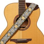 "Amumu Hootenanny Embroidery Guitar Strap Yellow Cotton for Acoustic, Electric and Bass Guitars with Strap Blocks & Headstock Strap Tie - 2"" Wide"