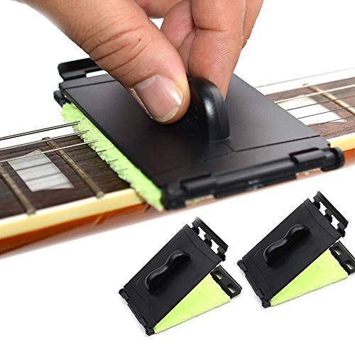 SAPHUE Guitar String Cleaner Clean Fretboard Cloth Tool Scrubber for Cleaning Maintenance Care Kit for Violin/Bass/Ukulele/Electric Guitars and Other Musical Instrument 2 Pack