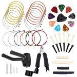50 PCS Guitar Accessory Kit, Bosunny Acoustic Guitar Parts Replacement Kit, Guitar Strings, Guitar Picks,Picks Box, Hanger, 3 in 1 guitar string winder cutter and pin puller, Pins and Bone Bridge